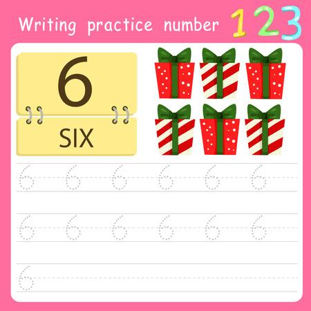 Worksheet Writing practice number six Illustration