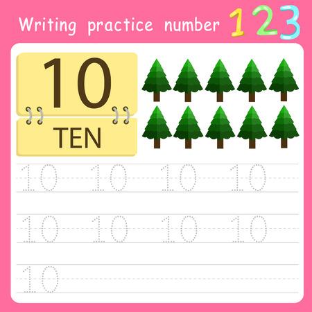 Worksheet Writing practice number ten