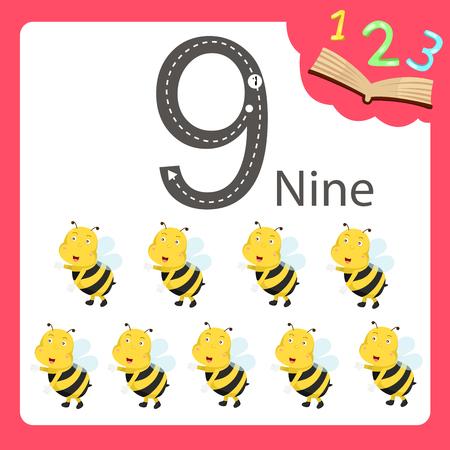 Illustrator of nine number animal