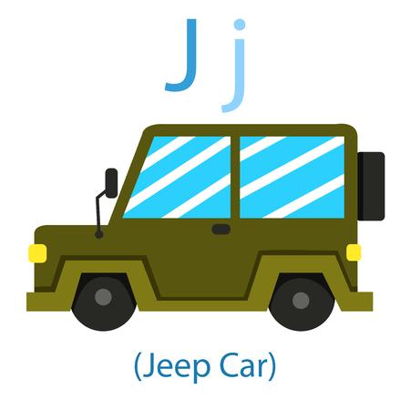 Illustrator of J for Jeep car