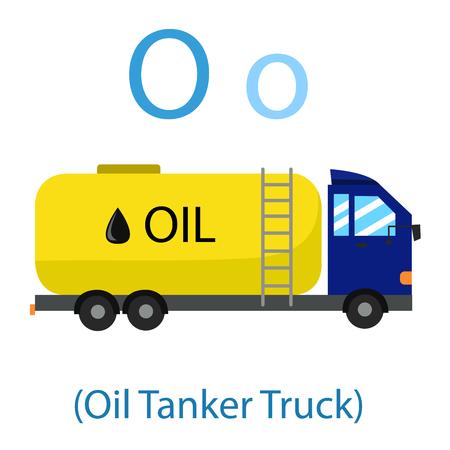 Illustrator of O for Oil Tanker Truck