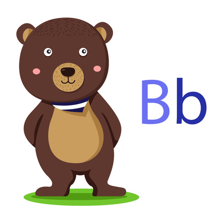 B alphabet vector animal for kid
