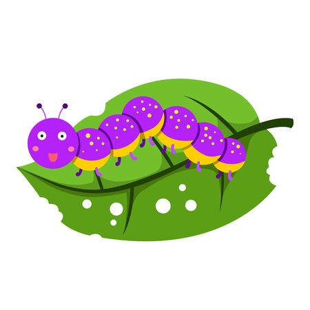 Illustrator of worm on leaves, vector illustration  イラスト・ベクター素材