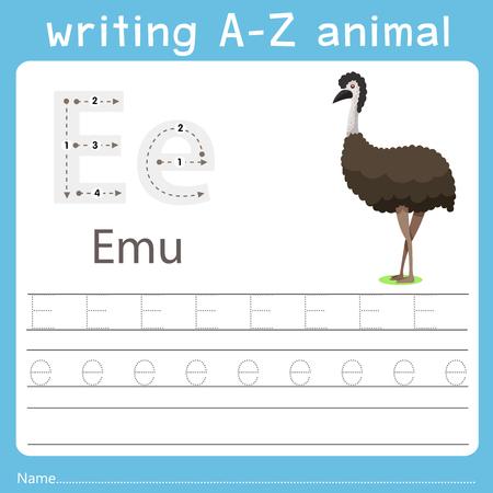 writing a-z animal e emu