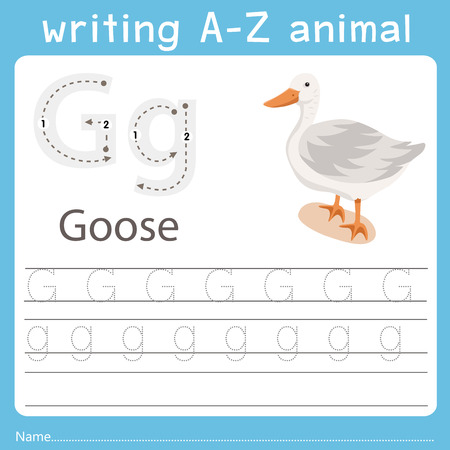writing a-z animal g goose Vettoriali
