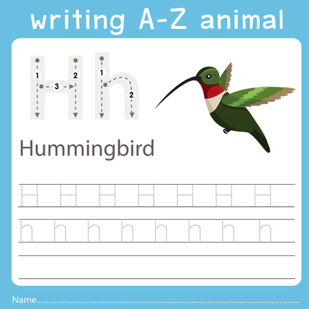 writing a-z animal h hummingbird