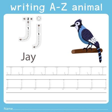writing a-z animal j jay Illustration