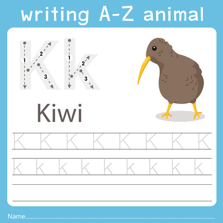 writing a-z animal k kiwi
