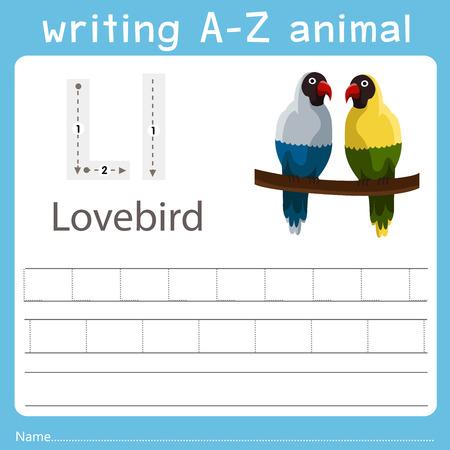 writing a-z animal l lovebird