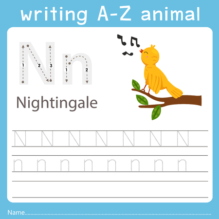 writing a-z animal n nightingale