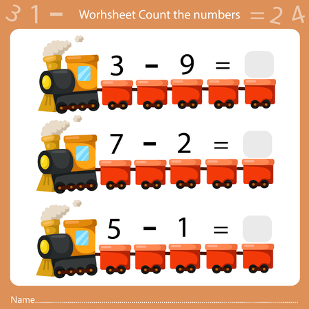 Illustrator of Worksheet Count the Number sheet three Иллюстрация