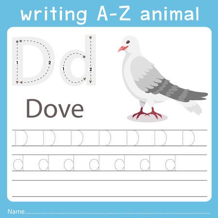 Ilustrador de escritura az animal d paloma