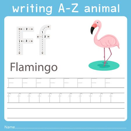 Illustrator of writing a-z animal f flanimgo Vector Illustration