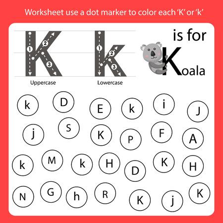Find the letter Worksheet use a dot marker to color each K