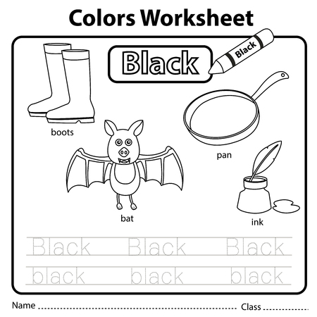 Illustrator of colors worksheet black
