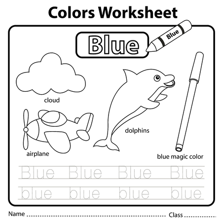 Illustrator of colors worksheet blue 일러스트