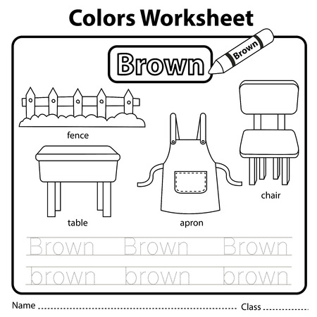 Illustrator of colors worksheet brown