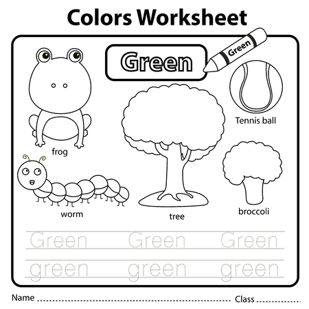 Illustrator of colors worksheet green