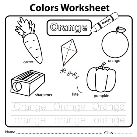 Illustrator of colors worksheet orange