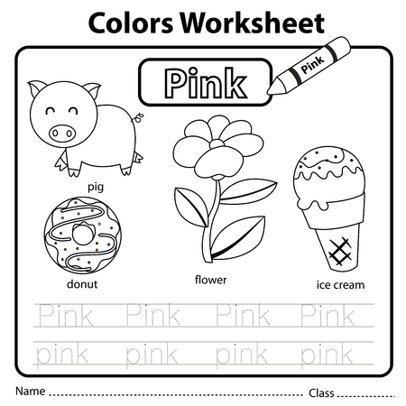 Illustrator of colors worksheet pink