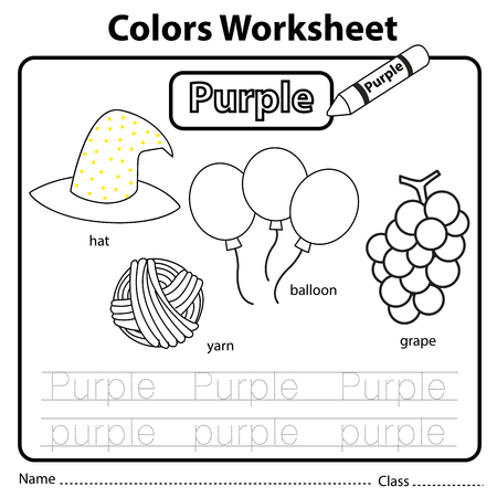 Illustrator of colors worksheet purple 向量圖像