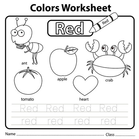 Illustrator of colors worksheet red 向量圖像