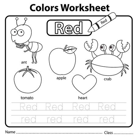 Illustrator of colors worksheet red Illustration