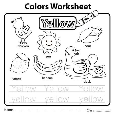 Illustrator of colors worksheet yellow