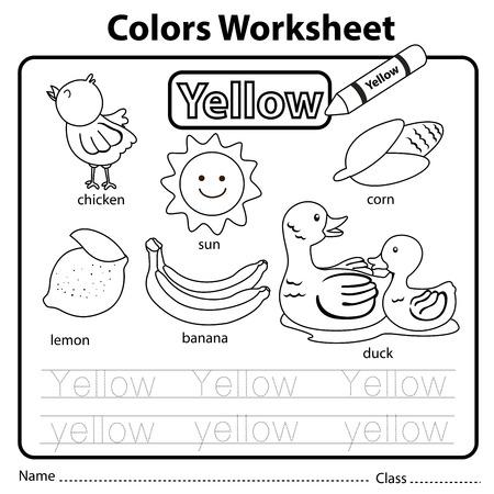 Illustrator of colors worksheet yellow