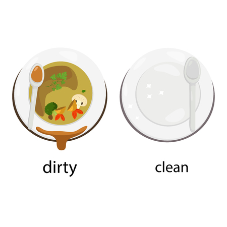 opposite dirty and clean Illustration