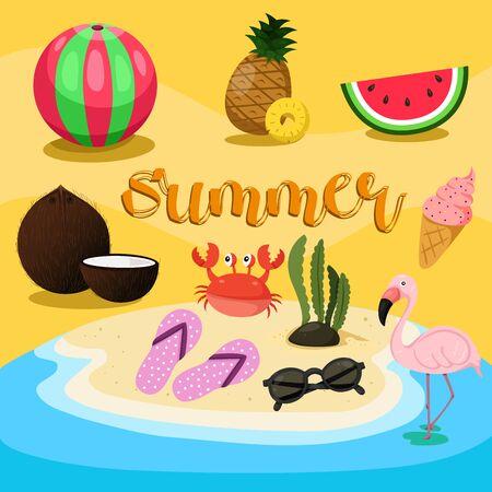 Illustrator of summer set design, vector illustration