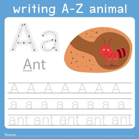 Ilustrador de escritura az animal a Ilustración de vector