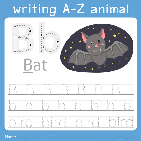 Illustrator of writing a-z animal b Vettoriali