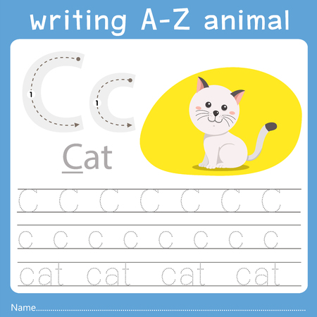 Illustrator of writing a-z animal c Vettoriali