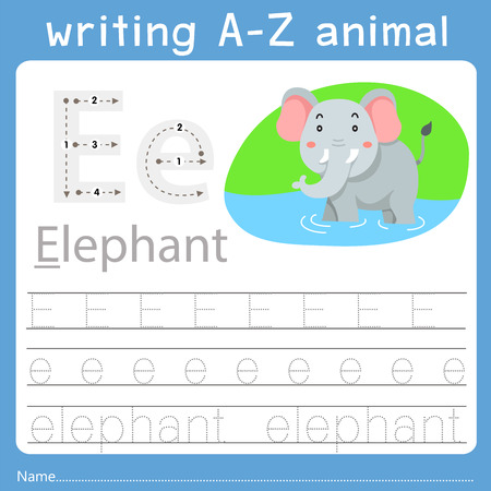 Illustrator of writing a-z animal e