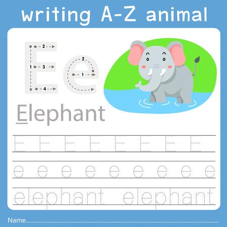 Ilustrador de escritura az animal e Ilustración de vector
