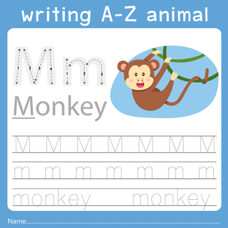 Illustrator of writing a-z animal m Archivio Fotografico - 126050605