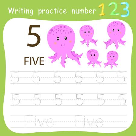 Hoja de trabajo Práctica de escritura número cinco