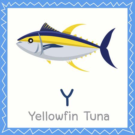 Illustrateur de Y pour l'animal de thon à nageoires jaunes Vecteurs