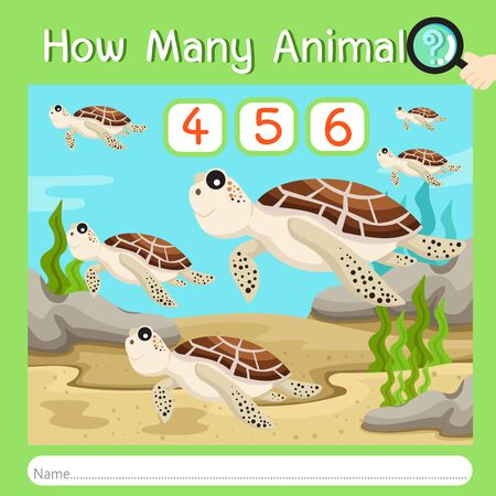 Illustrator of How many animal five, vector illustration exercise for kid