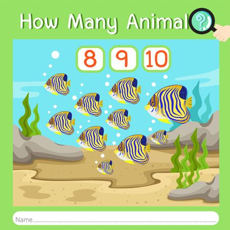 Illustrator of How many animal four, vector illustration exercise for kid