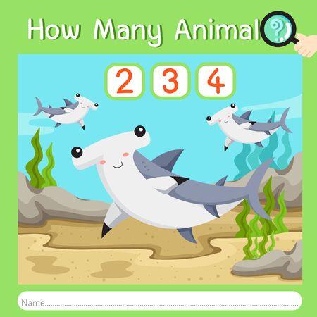 Illustrator of How many animal seven, vector illustration exercise for kid