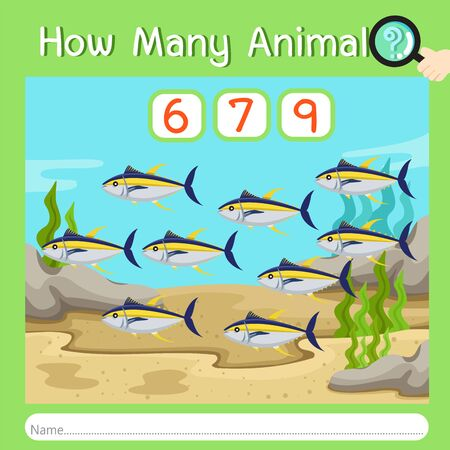 Illustrator of How many animal six, vector illustration exercise for kid Ilustrace