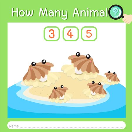Illustrator of How many animal ten, vector illustration exercise for kid
