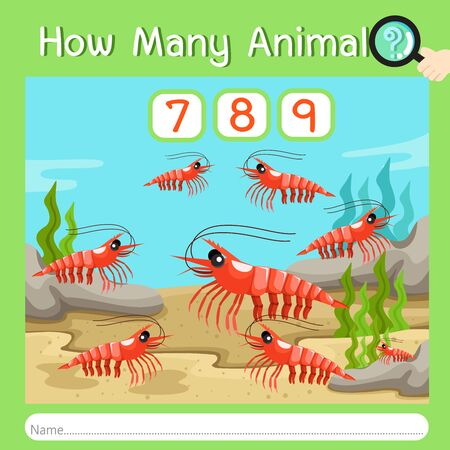 Illustrator of How many animal three, vector illustration exercise for kid