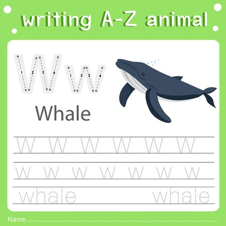 Illustrator of writing a-z animal w whale, vector illustration exercise for kid Фото со стока - 129705472