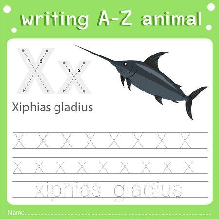Illustrator of writing a-z animal x xiphias gladius, vector illustration exercise for kid Illustration