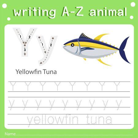 Illustrator of writing a-z animal y yellowfin tuna, vector illustration exercise for kid Фото со стока - 129705502