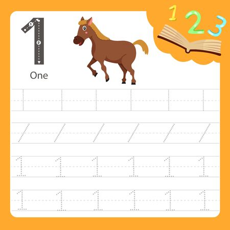 Illustrator of Worksheet writing practice number one animal, vector illustration exercise for kid Фото со стока - 129705531