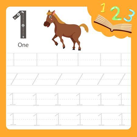 Illustrator of Worksheet writing practice number one animal, vector illustration exercise for kid Иллюстрация